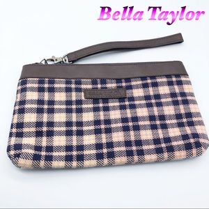 Bella Taylor- pink blue plaid clutch leather trim